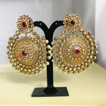 Load image into Gallery viewer, Gold pearl ruby large statement earrings