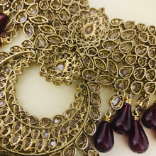 Load image into Gallery viewer, Antique gold maroon necklace earrings set Indian bridal party jewellery
