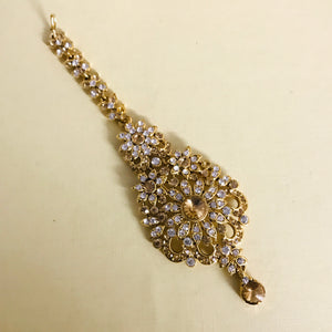 Gold diamanté necklace earrings tikka set Indian bridal jewellery