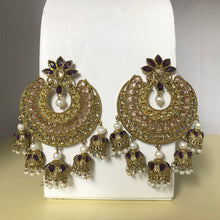 Load image into Gallery viewer, Gold polki pearl jhumka statement earrings