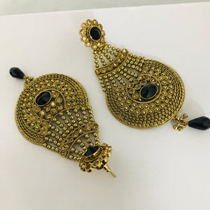 Antique gold black strand jhumar style earrings