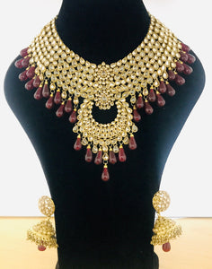 Antique gold maroon necklace earrings set Indian bridal party jewellery