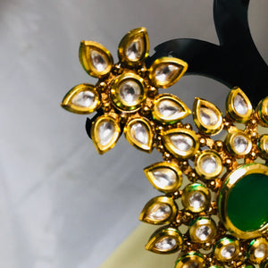 Gold green kundan handcrafted earrings