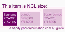 NCL photo album size guide from The Photo Album Shop