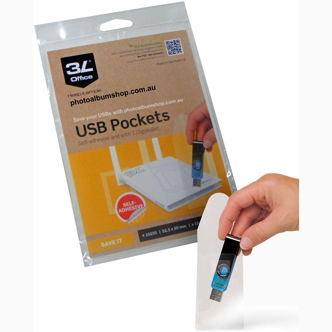 3L self-adhesive USB pockets pack of 10 from The Photo Album Shop