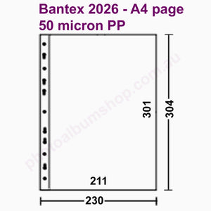 Schematic of Bantex 2026 archival A4 page protectors
