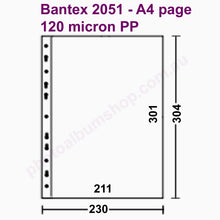 Schematic diagram of Bantex 2051 heavy duty 120 micron archival PP pockets from The Photo Album Shop