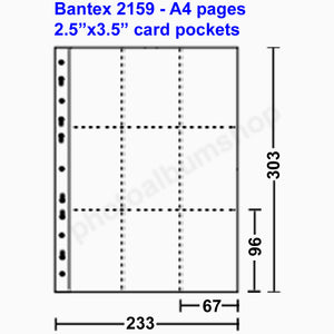 Bantex 2159 card collectors pages 6.5x9.5cm pockets (10)
