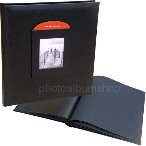 Black Buckram medium photo album with window 3013X12BL
