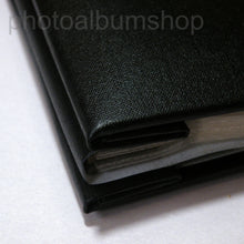 Detail of black buckram cover and spine from The Photo Album Shop
