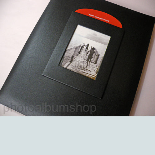 Black Buckram A4 archival scrapbook photo album showing cover texture and image window from The Photo Album Shop