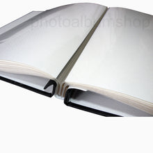 Open Black Buckram scrapbook album showing hinged pages which lay flat when open from The Photo Album Shop