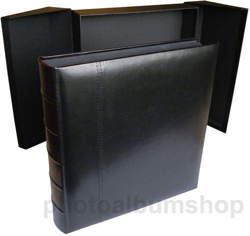 Glorious Leather large black jumbo drymount photo albums with black pages and box