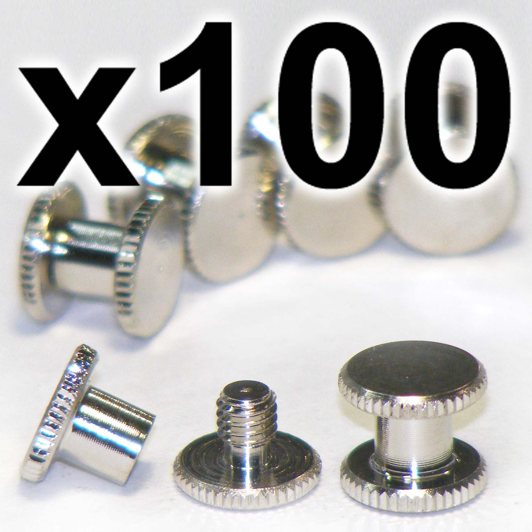 BULK PACK of 100 x Silver Chicago interscrews post and screw set, 5mm (100 PACK)