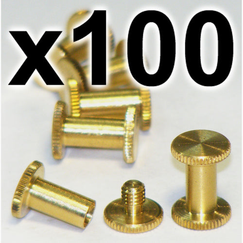 BULK PACK of 100 x Brass Chicago interscrews post and screw set, 10mm (100 PACK)