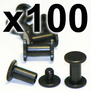 BULK PACK of 100 x Black Chicago interscrews post and screw set, 10mm (100 PACK)
