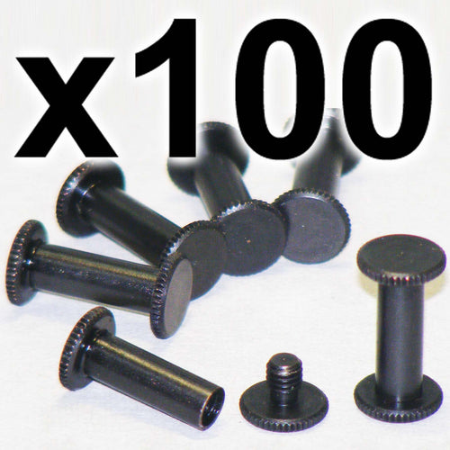 BULK PACK of 100 x Black Chicago interscrews post and screw set, 15mm (100 PACK)