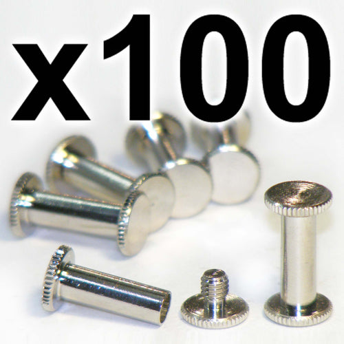 BULK PACK of 100 x Silver Chicago interscrews post and screw set, 15mm (100 PACK