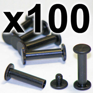 BULK PACK of 100 x Black Chicago interscrews post and screw set, 20mm (100 PACK)