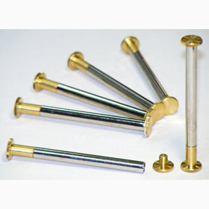 Brass Chicago interscrews post and screw set, 60mm (pack of 6)