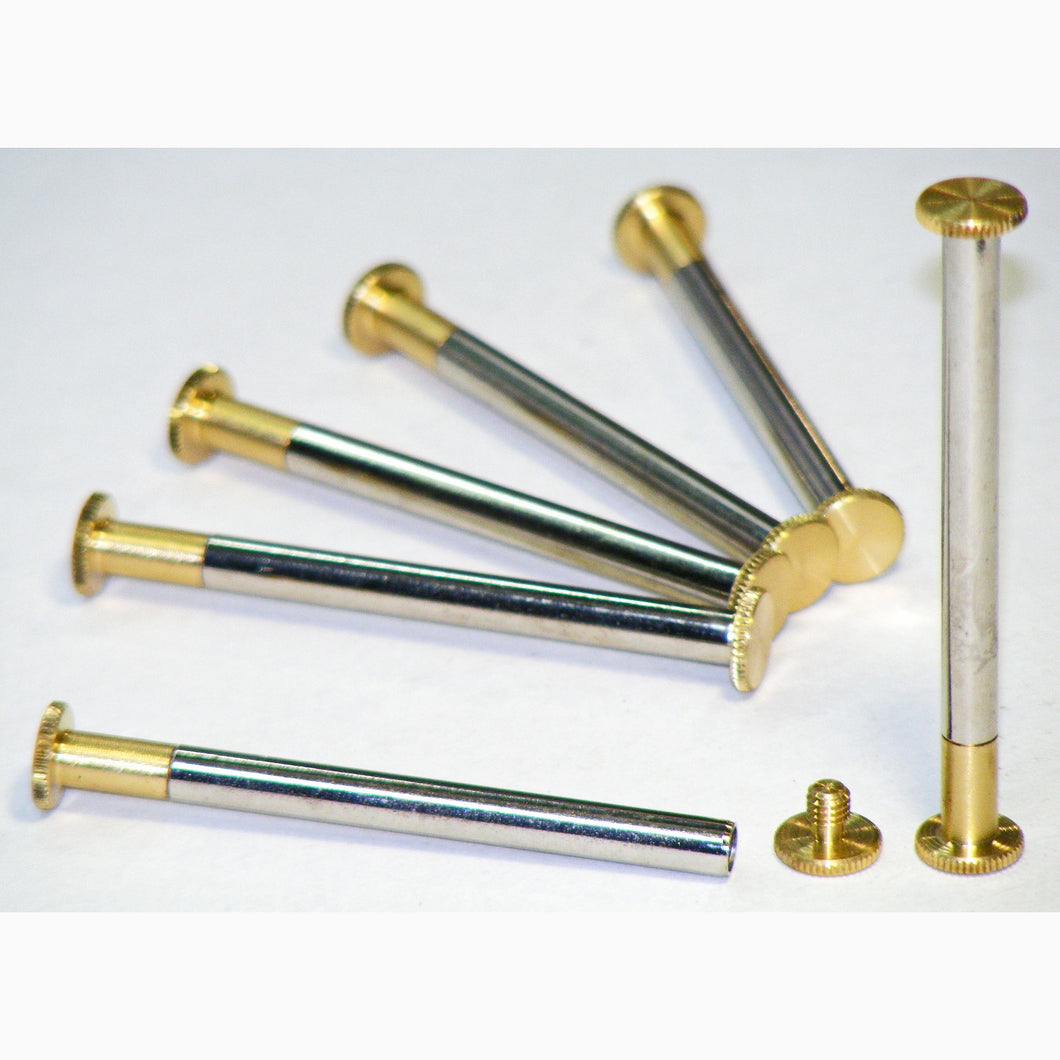 Brass Chicago interscrews post and screw set 80mm (pack of 6)