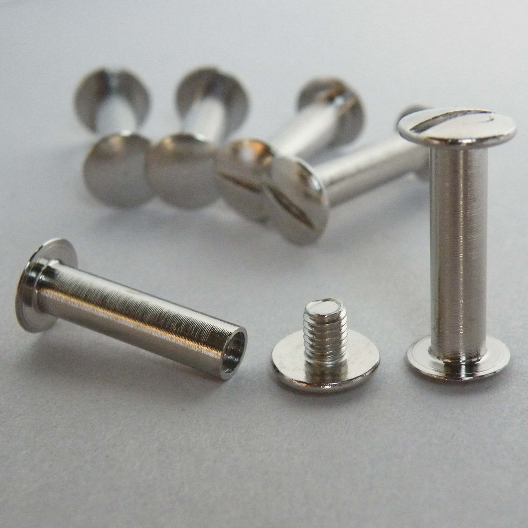 Nickel plated silver ledger screws 20mm from The Photo Album Shop