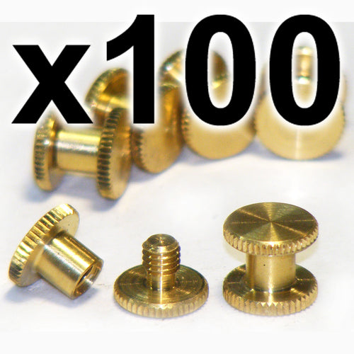 BULK PACK of 100 x Brass Chicago interscrews post and screw set, 5mm (100 PACK)