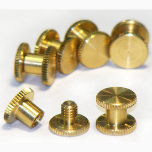 Brass Chicago interscrews post and screw set, 5mm (pack of 6)