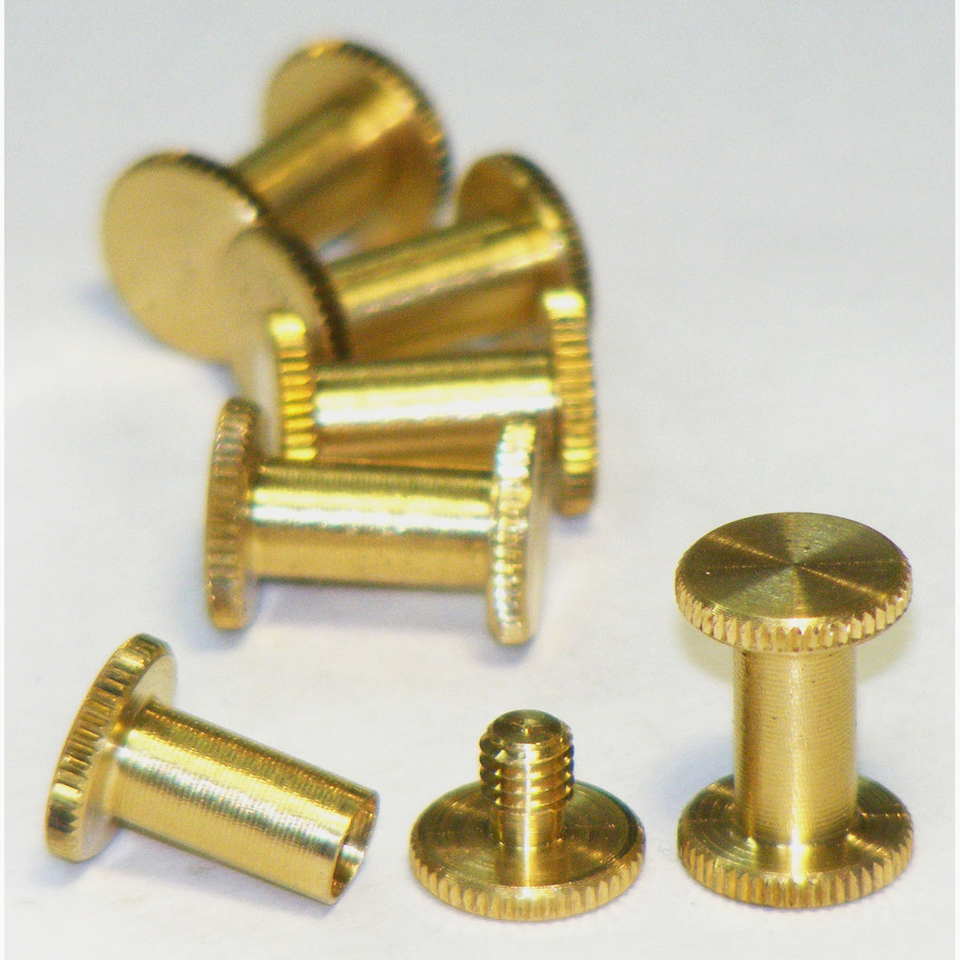 Brass Chicago interscrews post and screw set, 10mm (pack of 6)