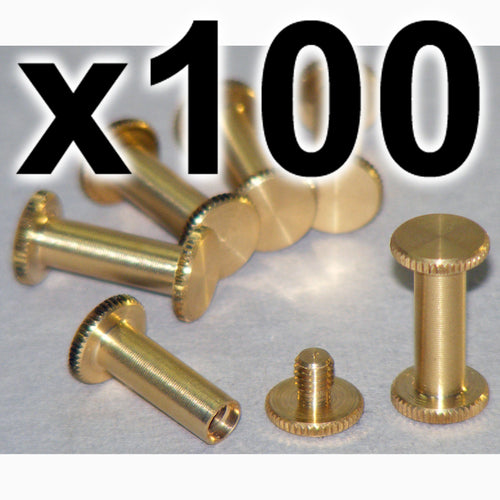 BULK PACK of 100 x Brass Chicago interscrews post and screw set, 15mm (100 PACK)