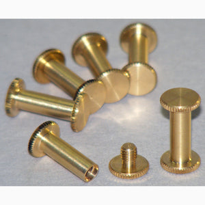 Brass Chicago interscrews post and screw set 15mm (pack of 6)