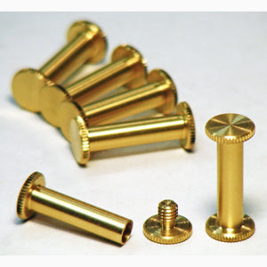 Brass Chicago interscrews post and screw set, 20mm (pack of 6)