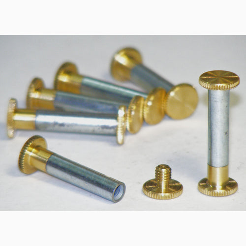 Brass Chicago interscrews post and screw set 25mm (pack of 6)