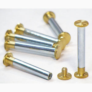 Brass Chicago interscrews post and screw set 35mm (pack of 6)