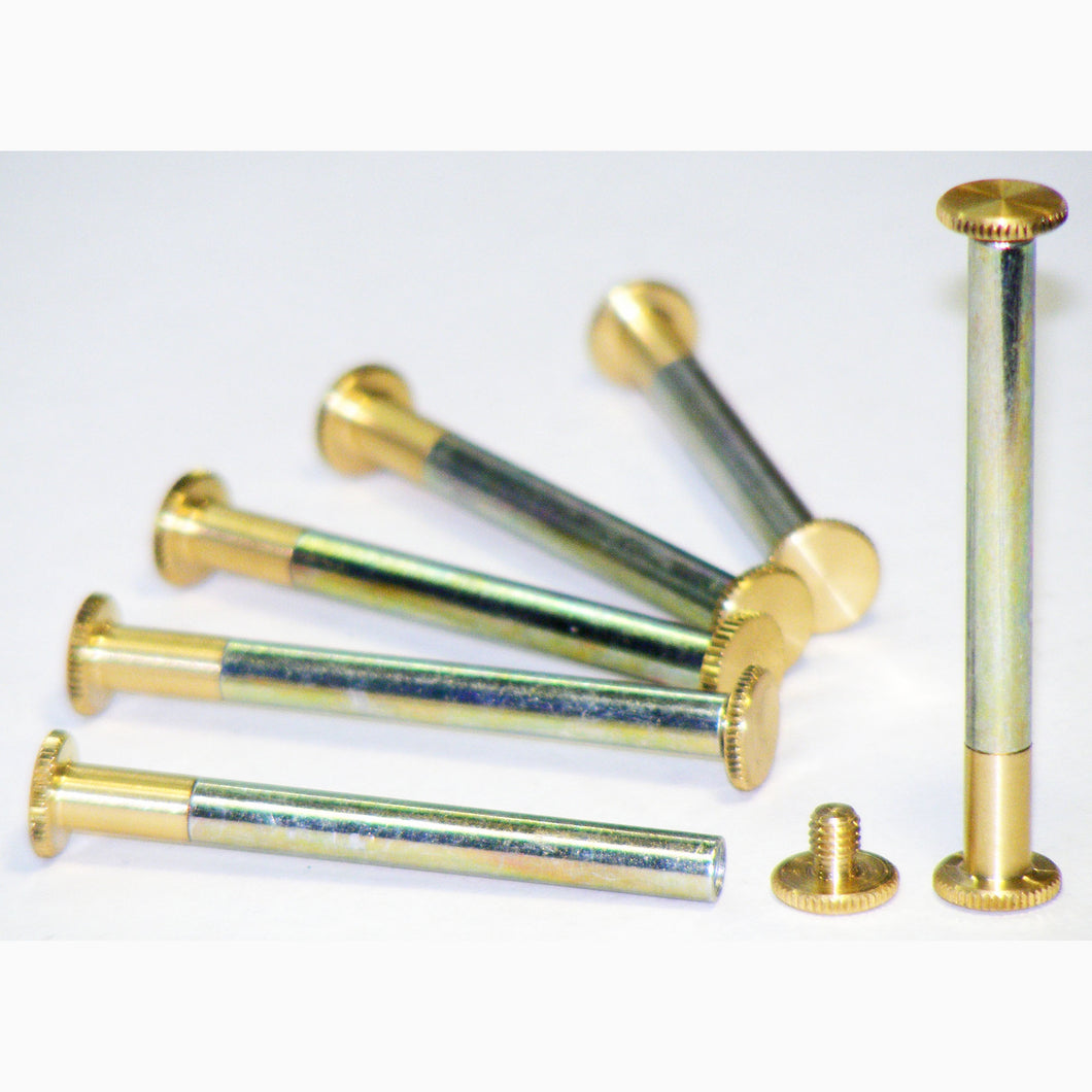 Brass Chicago interscrews post and screw set, 50mm (pack of 6)