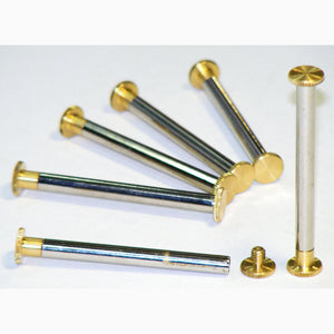 Brass Chicago interscrews post and screw set, 55mm (pack of 6)
