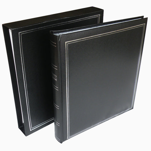 Basic black page dry mount photo album with slip-case