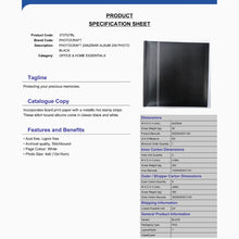 Product Specification Sheet for Zanzibar 3707G7BL black 6x4 slip-in 200 photo albums