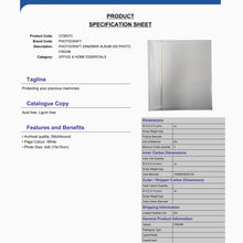 Product Specification Sheet for Zanzibar 3708G7C white 6x4 slip-in 200 photo albums