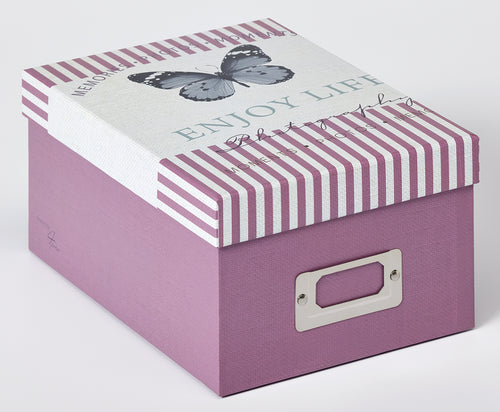 Mariposa pink photo boxes 700 photos 10x15cm with index cards