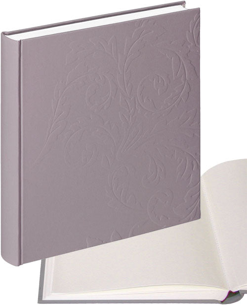 Nobile embossed pewter photo albums, white pages