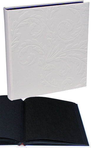Nobile embossed ivory photo albums, black pages