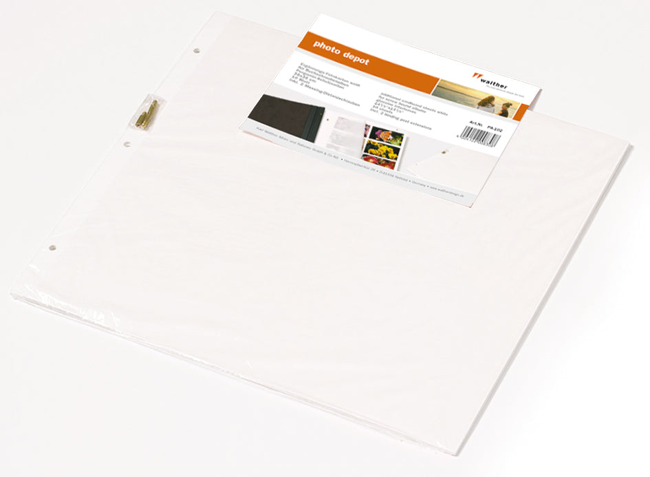 Walther Premium Jumbo photo album refills, white pages