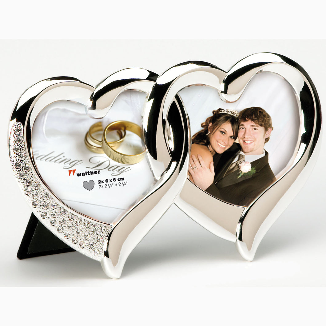 Twin Heart double photo frame 6x6cm / 2¼x2¼