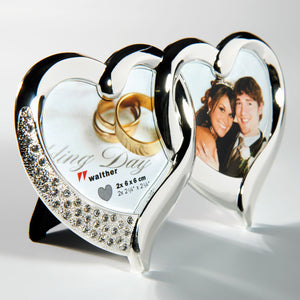 Twin Heart double photo frame 6x6cm / 2¼x2¼""