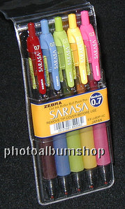 Zebra Sarasa gel ink roller pens, assorted colours (wallet of 5)