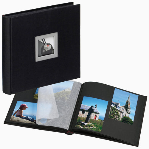 Black Linen small photo album and open album with 6x4 photos from The Photo Album Shop