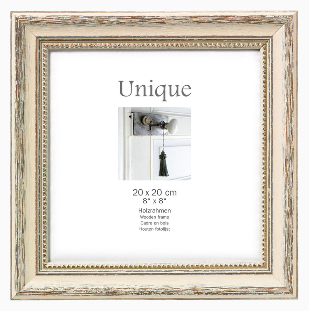 DF220W Antique Weathered Cream 20cm x 20cm / 8x8 inch photo frame from The Photo Album Shop