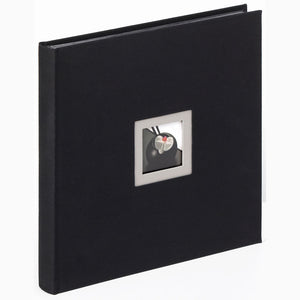 Black & White square linen photo albums with window