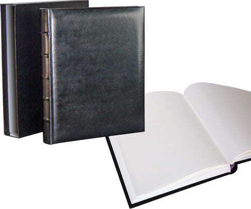 Classic black large photo albums with slip-cases